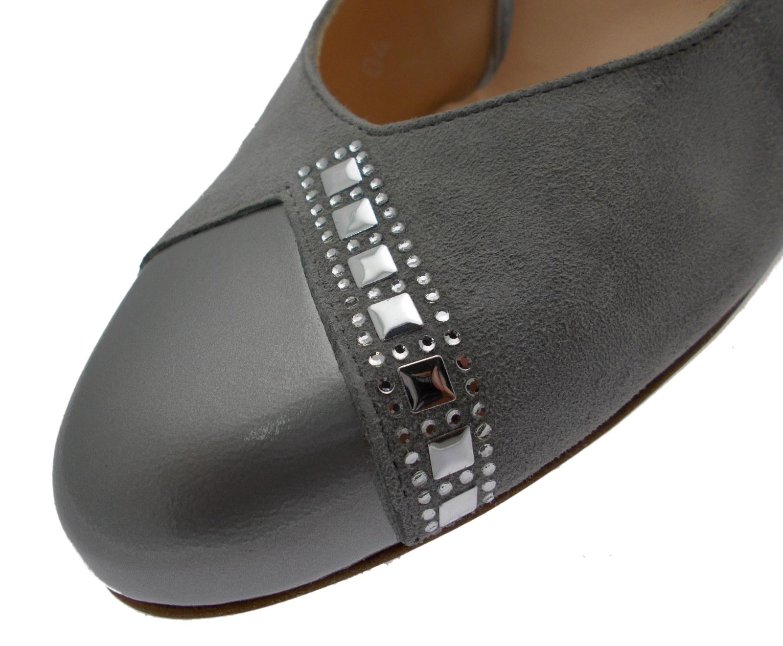 sandalo chiuso decoltè camoscio grigio argento acciaio Melluso