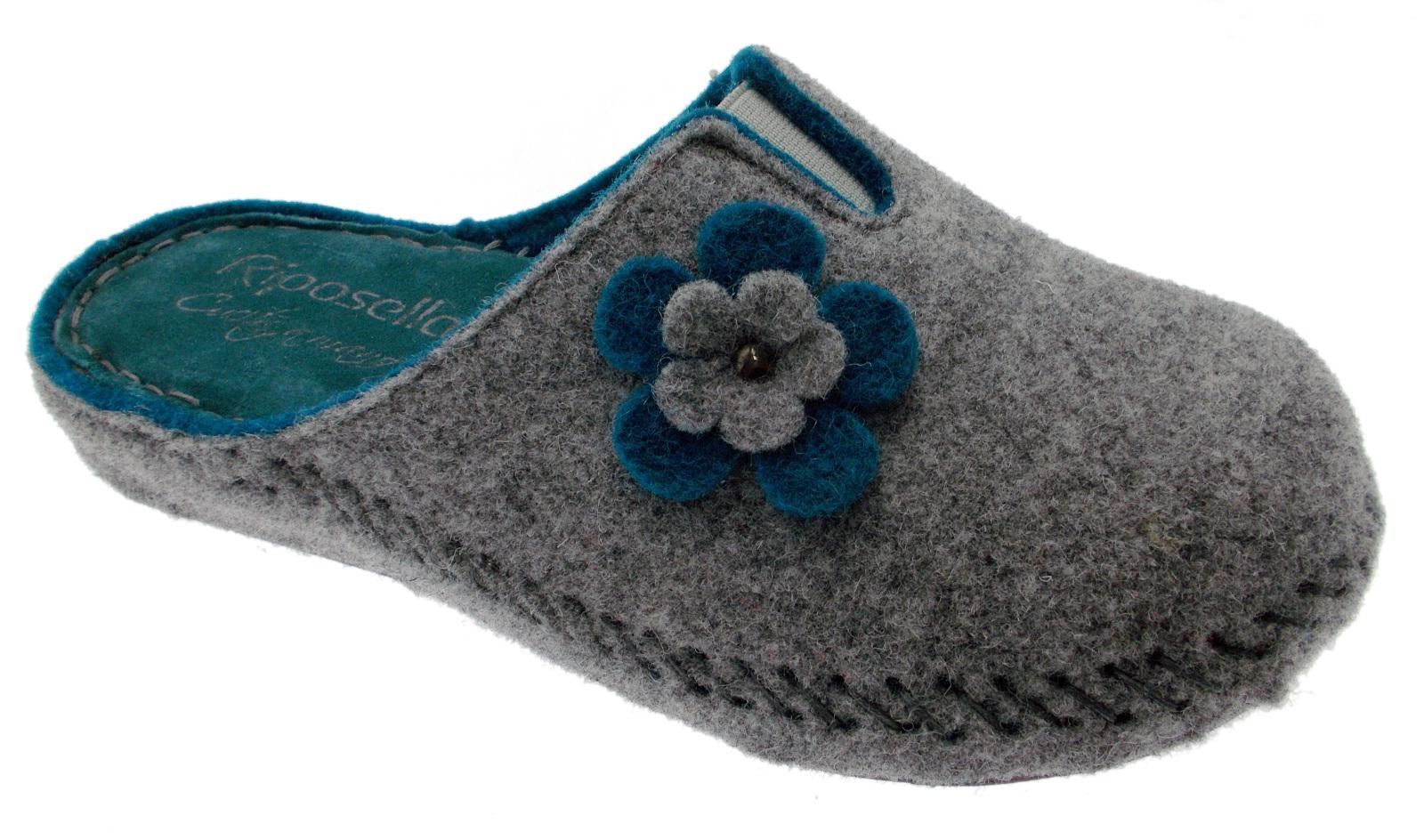 ciabatta grigio petrolio panno lana cotta fiore extra large art 40760 Riposella