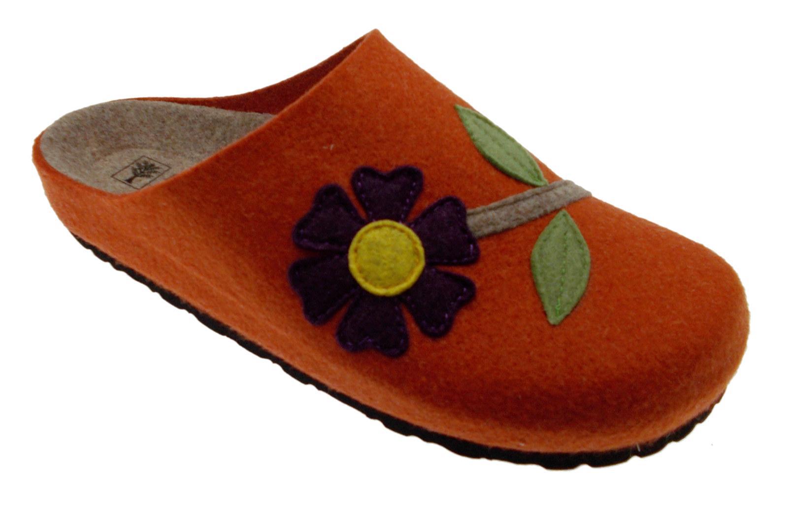 Ciabatta arancione panno lana cotta art 19.601 fiore Riposella