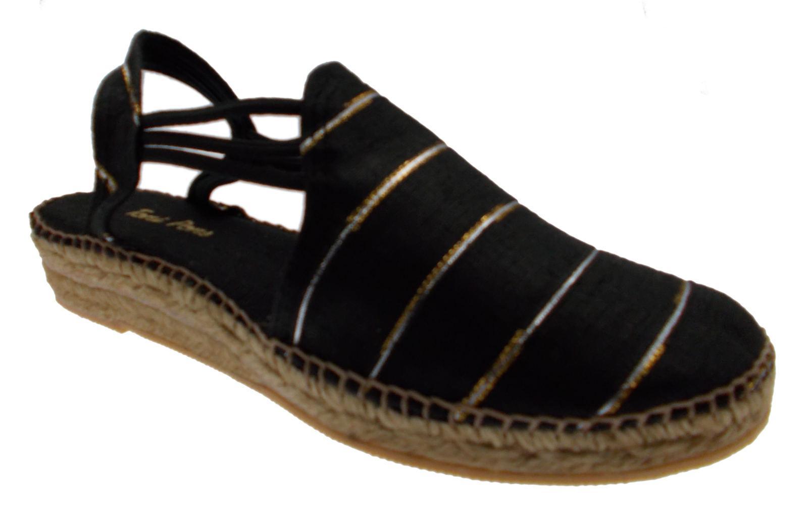 Sandalo corda nero NANTES  righe chiuso zeppa art NANTES nero Toni Pons 9e51f8