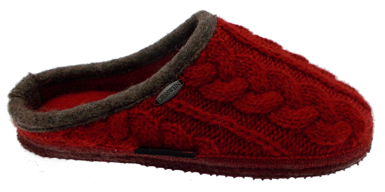 Ciabatta lana maglia rouge trecce art 34 10 42471-362 NEUDAU Giesswein