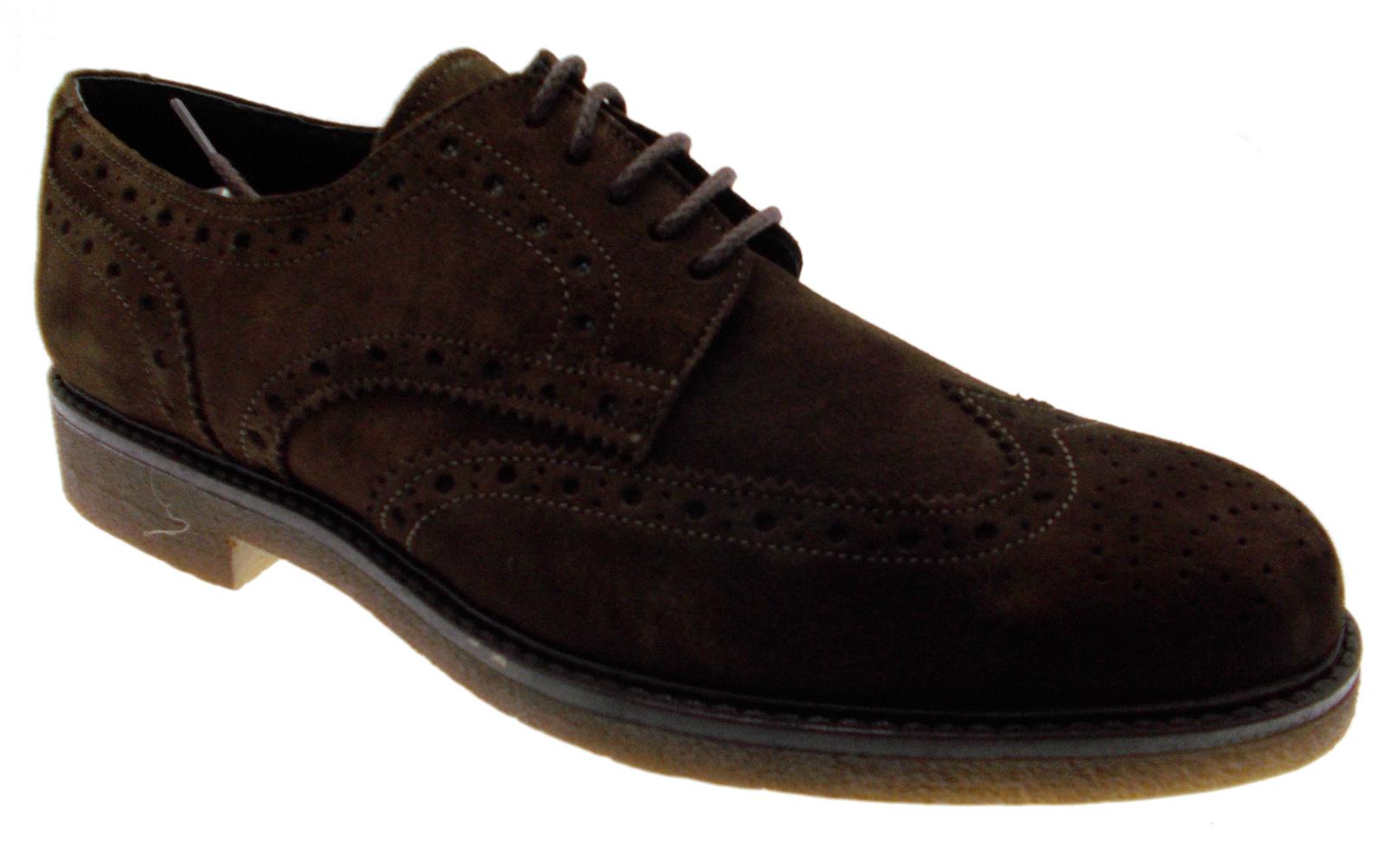 scarpa uomo classico allacciato francesina inglesina camoscio marrone art 749 Pi Scarpe classiche da uomo