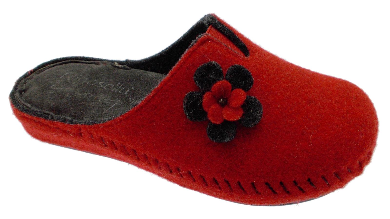 Ciabatta rosso grigio panno lana cotta fiore extra large art 40760 Riposella