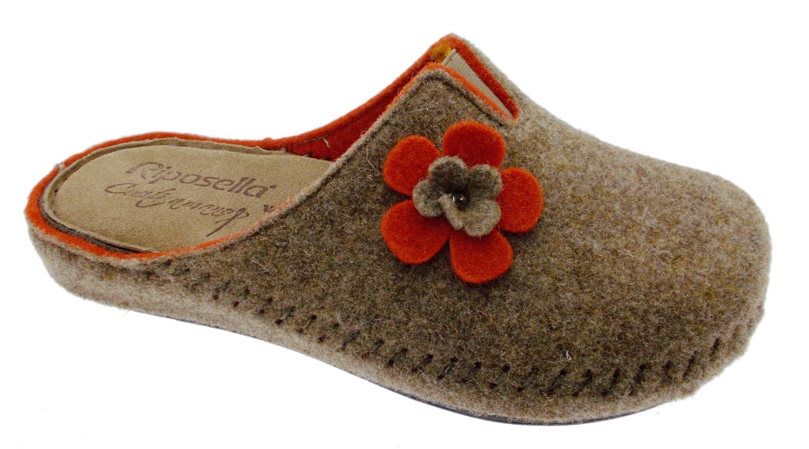 Ciabatta Ciabatta Ciabatta tortora arancio panno lana cotta fiore extra large art 40760 Riposella 0e1039