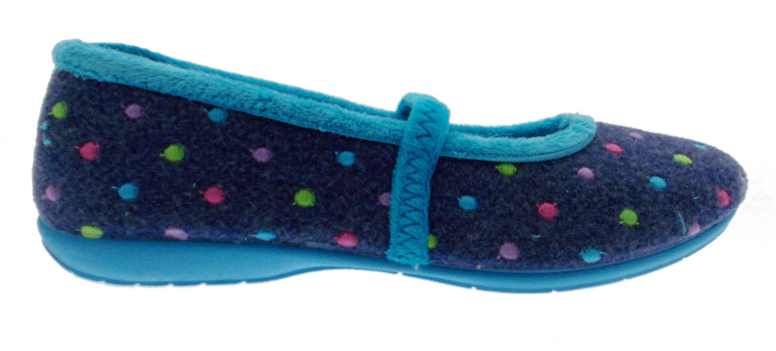 Zapatillas De Tela Azul Lunares Polka Azul De Fieltro Correa Correa Correa Eland  varios tamaños