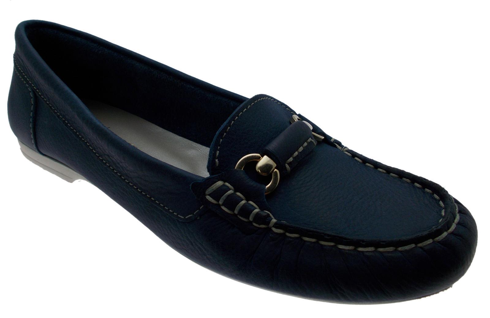 mocassin lederen aviator blue jeans klem artikel 442 Calzaturificio R.P
