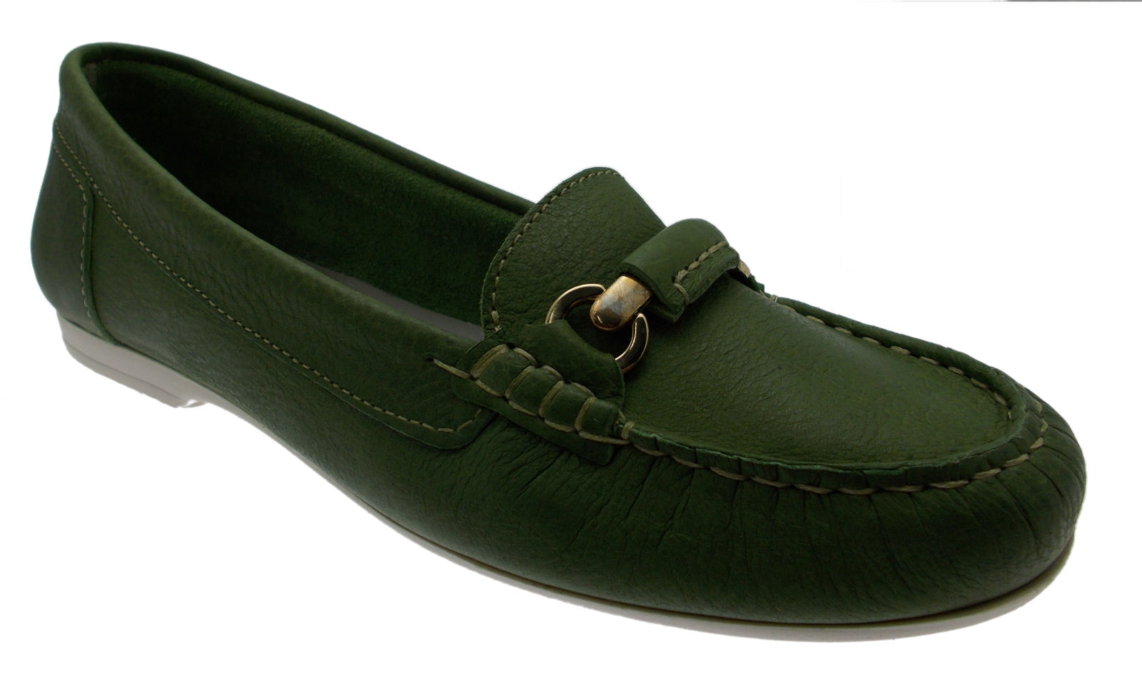 Mocassino Mocassino Mocassino pelle verde morsetto art 442 Calzaturificio R.P  entrega de rayos