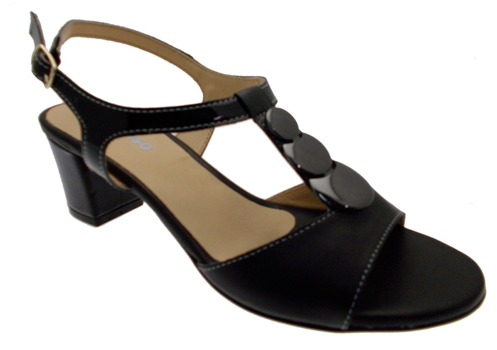 Sandalo donna aperto pelle nero medaglia art K95328P Melluso