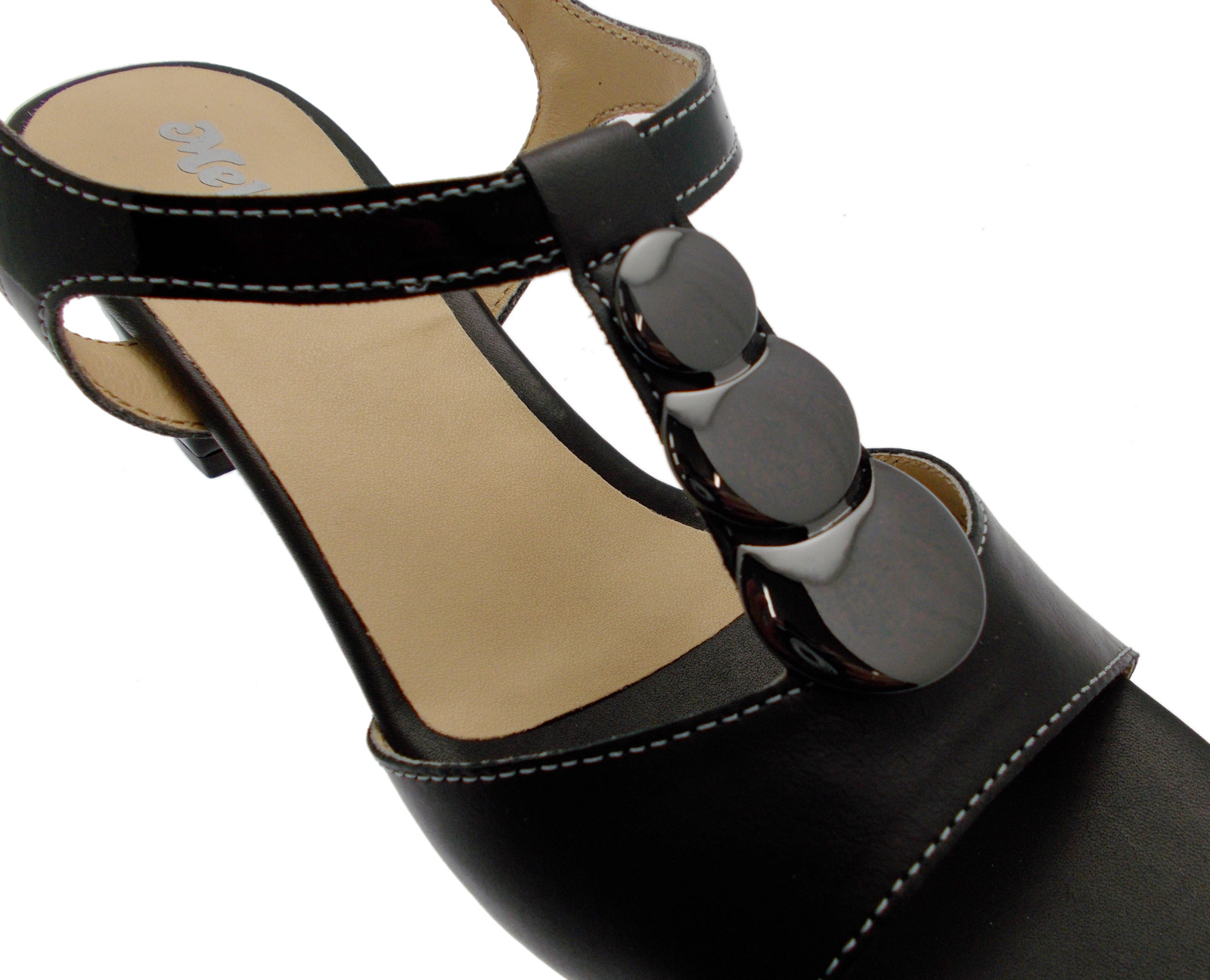 Art K95328p Pelle Sandalo Melluso Nero Donna Medaglia Aperto qMpSUVz