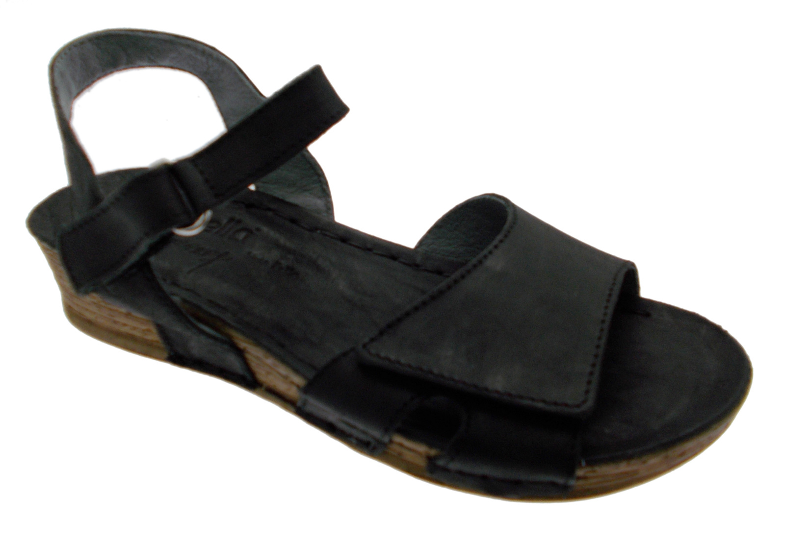 Sandale femme noire ouvert confortable compensé velcro article 10210 RIPOSELLA