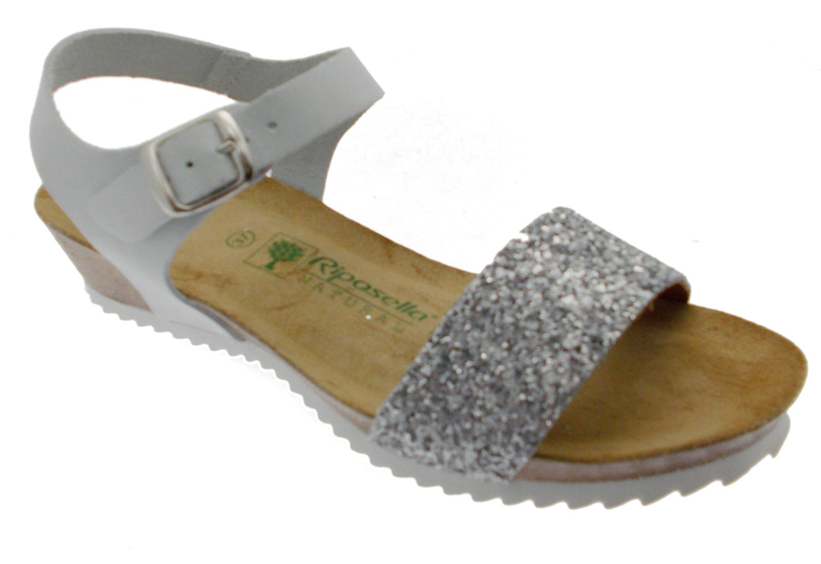 Sandalo donna bianco ghiaccio aperto perline zeppa comodo art 19616 Riposella