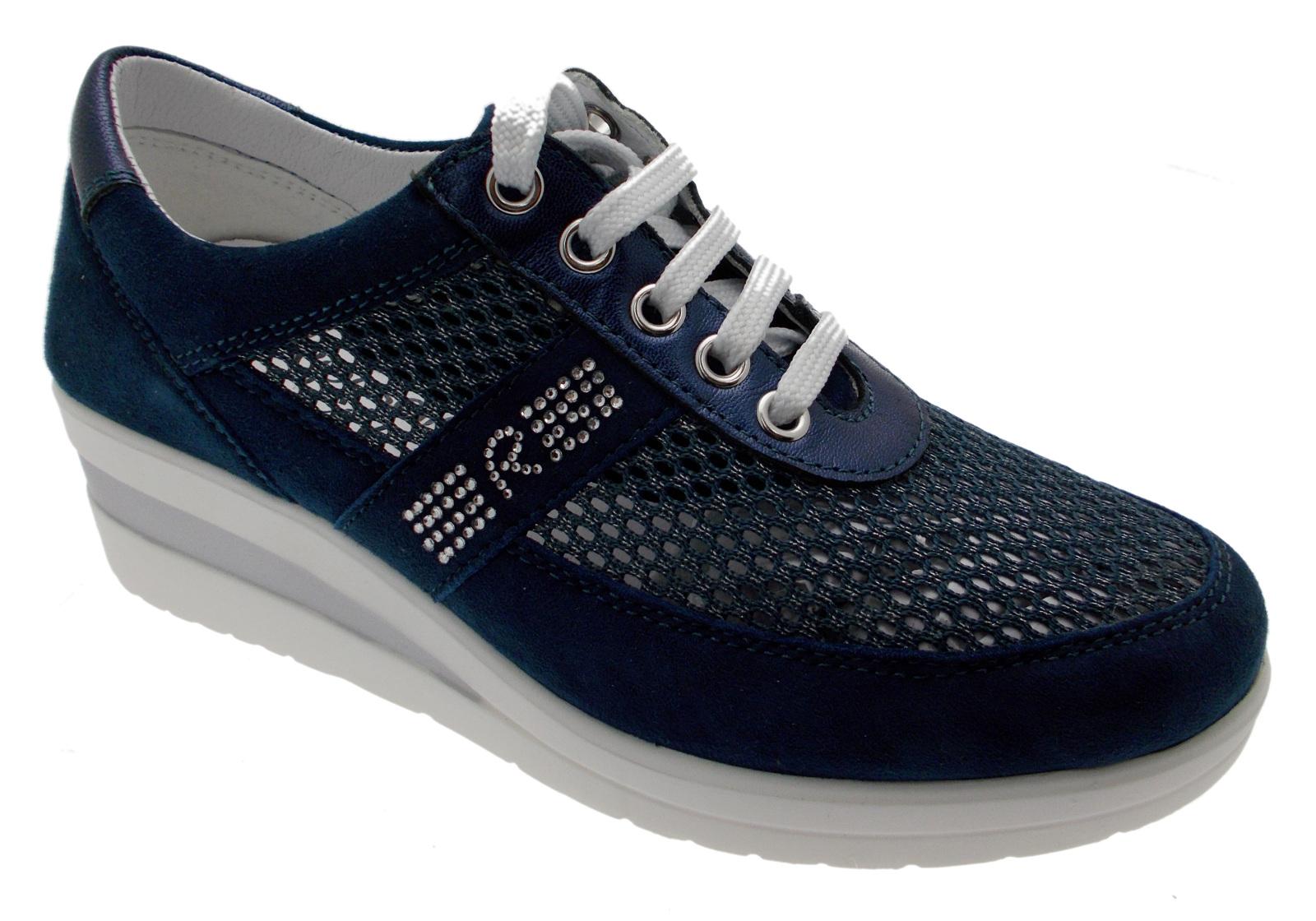 sneaker lacci blu zeppa art 75850 scarpa donna sport plantare Riposella