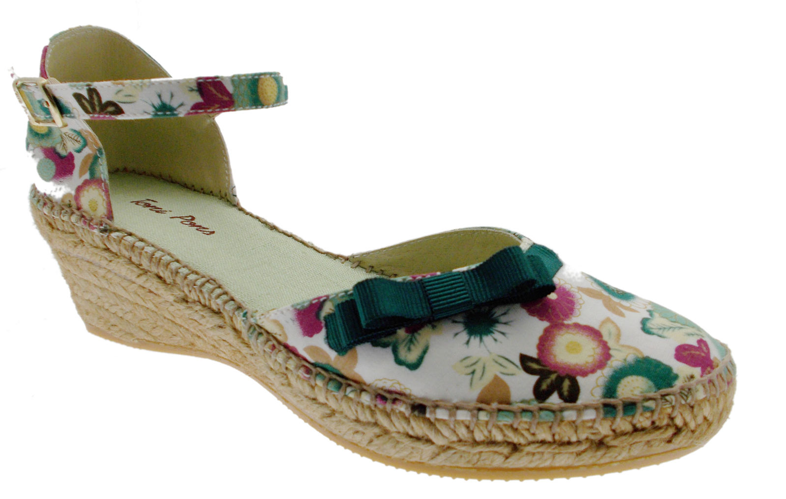 rope Sandale shoe WEISS green multicolor closed wedge art ABRIL Toni Pons