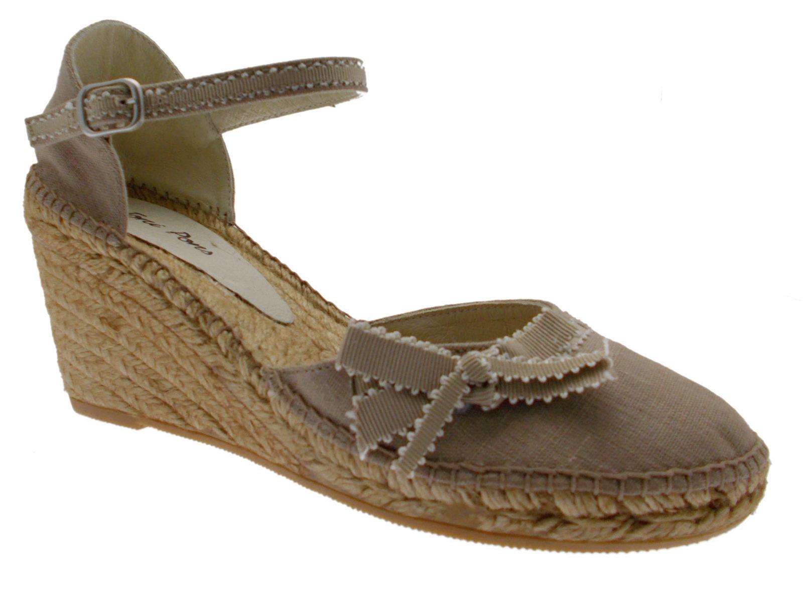 shoes sandal beige rope pedra closed wedge art FINA strap Toni Pons