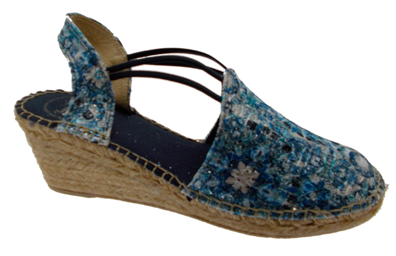 Descuento por tiempo limitado sandalo donna corda blu bianco zeppa art TORELLO fantasia espadrillas Toni Pons