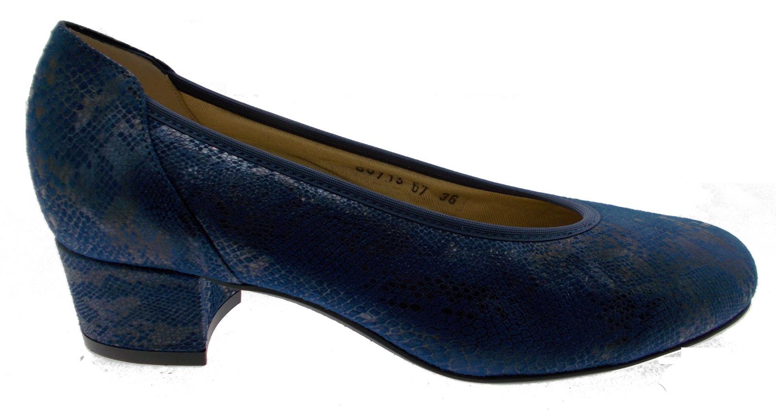 Decoltè stampato pitone bluette jeans plantare ortopedico 60713 loren