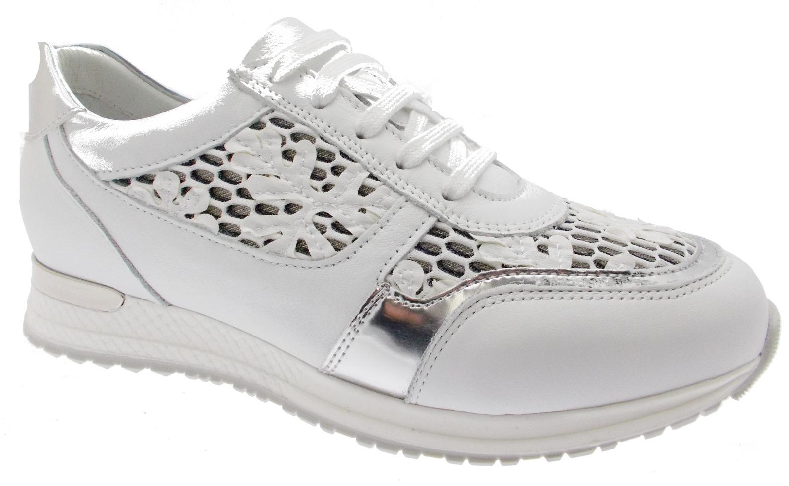C3729 scarpa donna ortopedica  sneaker plantare fiori lacci loren