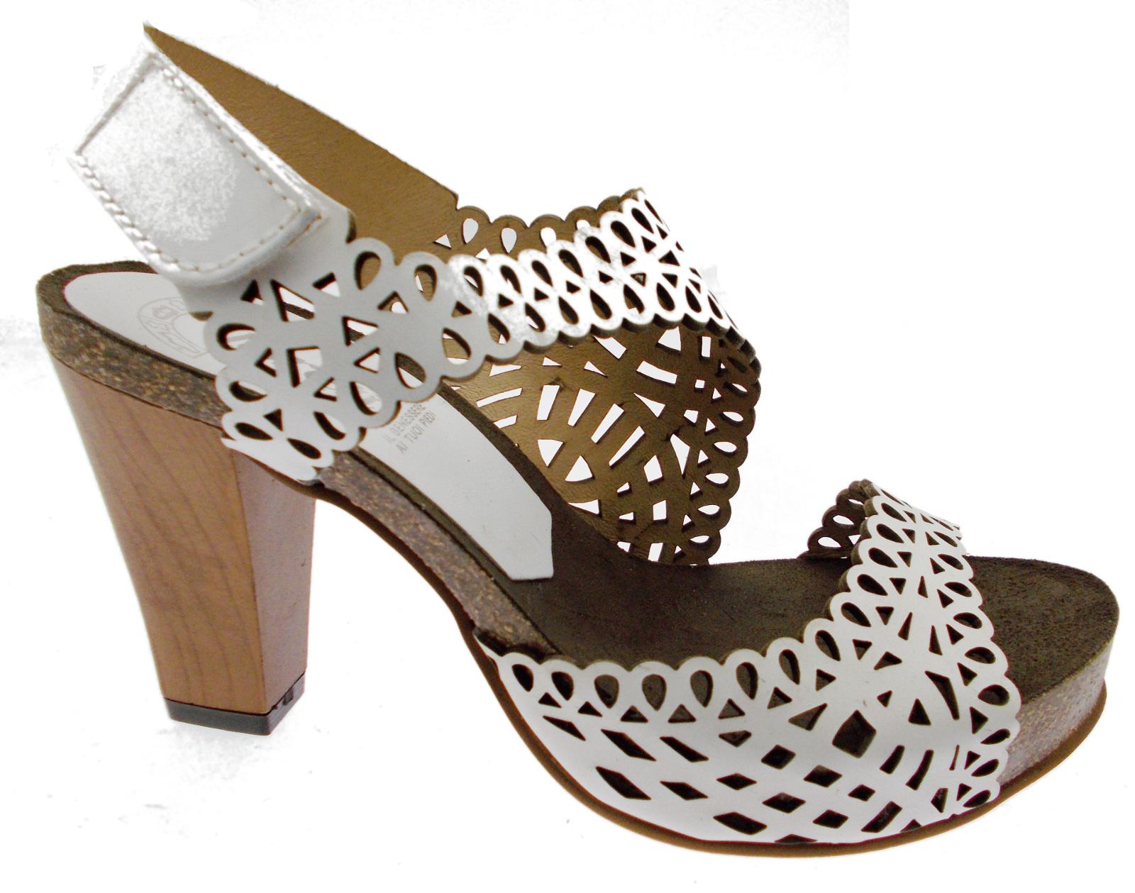 J0828 J0828 J0828 sandalo zoccolo bianco ricami plateau legno Loren 43e244