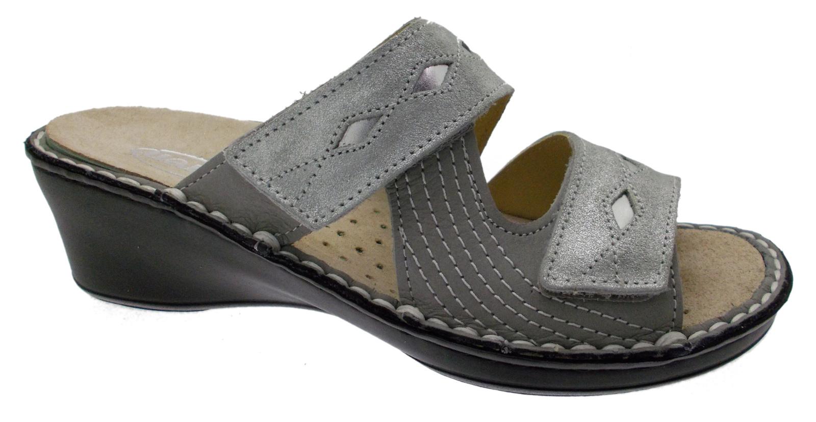 M2653 zoccolo ortopedico a piedi regolabile con piede extra  grande striscia grigia argentoata Loren  design unico