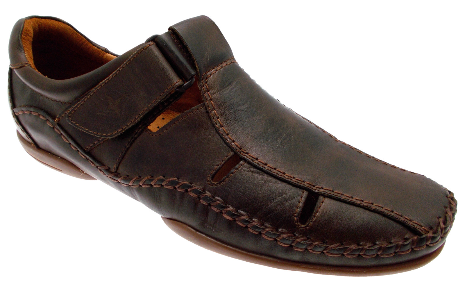 shoes sandal brown leather Velcro Article 03A-6545 Pikolinos