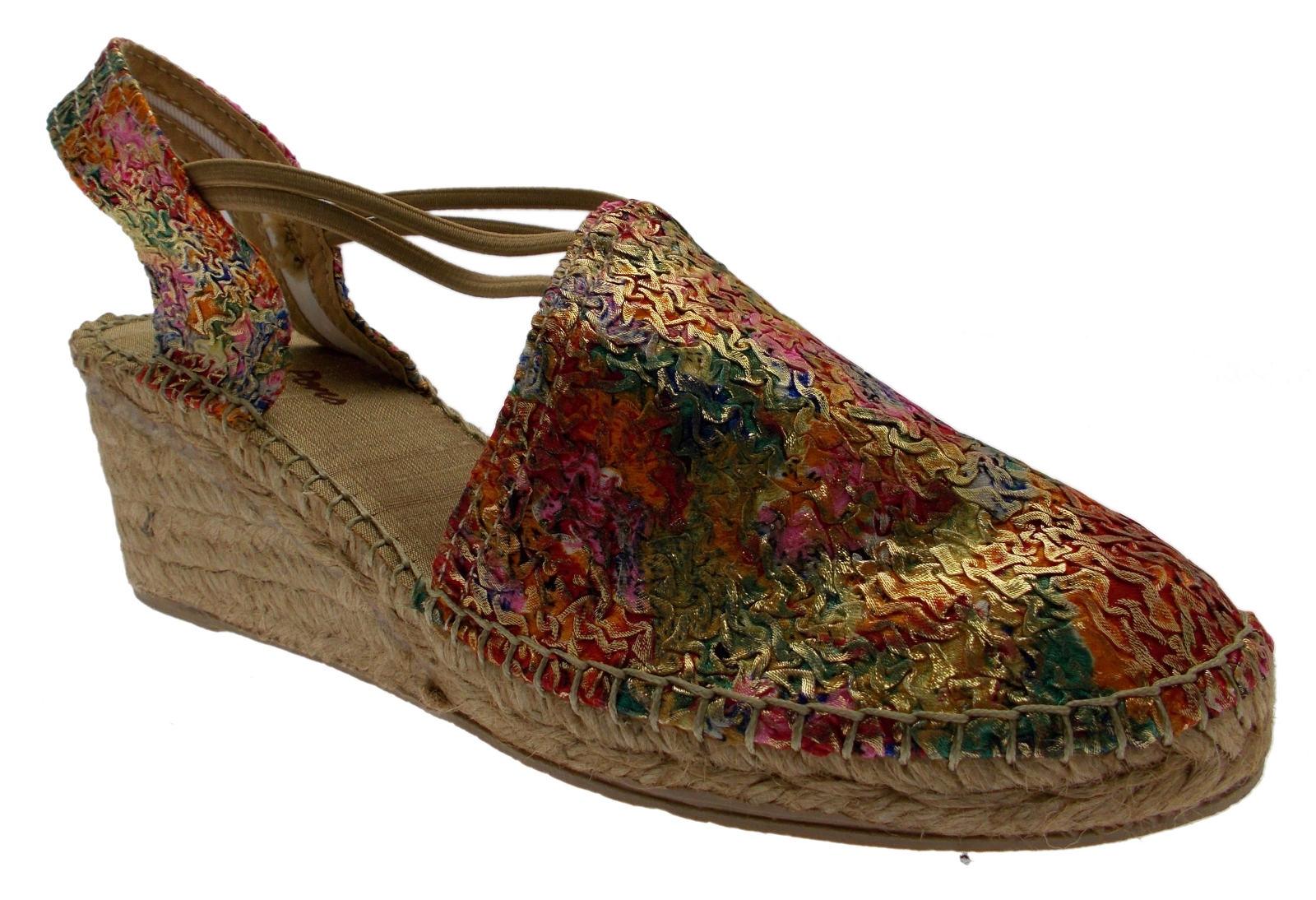Sandale fleurs multiCouleures corde fermés art de coin TRENTE Toni Pons