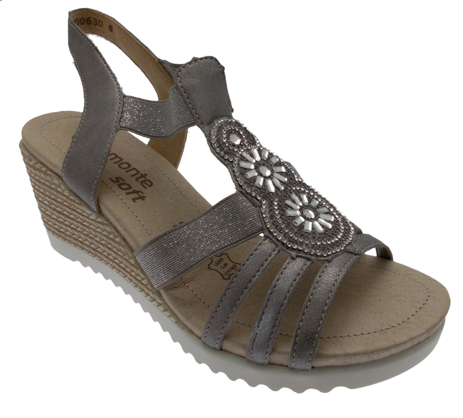 d3453-90 sandale métal gris platine wedge femme femme femme doux souvenir remonte da9483