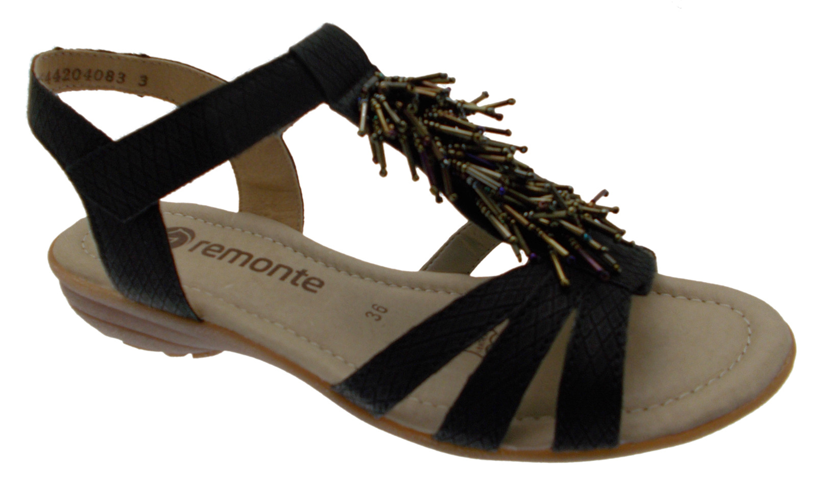 R3645-01 sandal black woman sequins soft memory Remonte