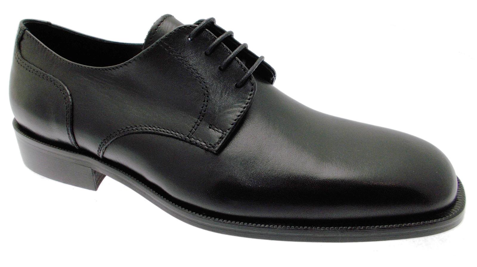 Scarpe casual da uomo  D003 scarpa lacci classica liscia Nero Uomo Pioggia Nero