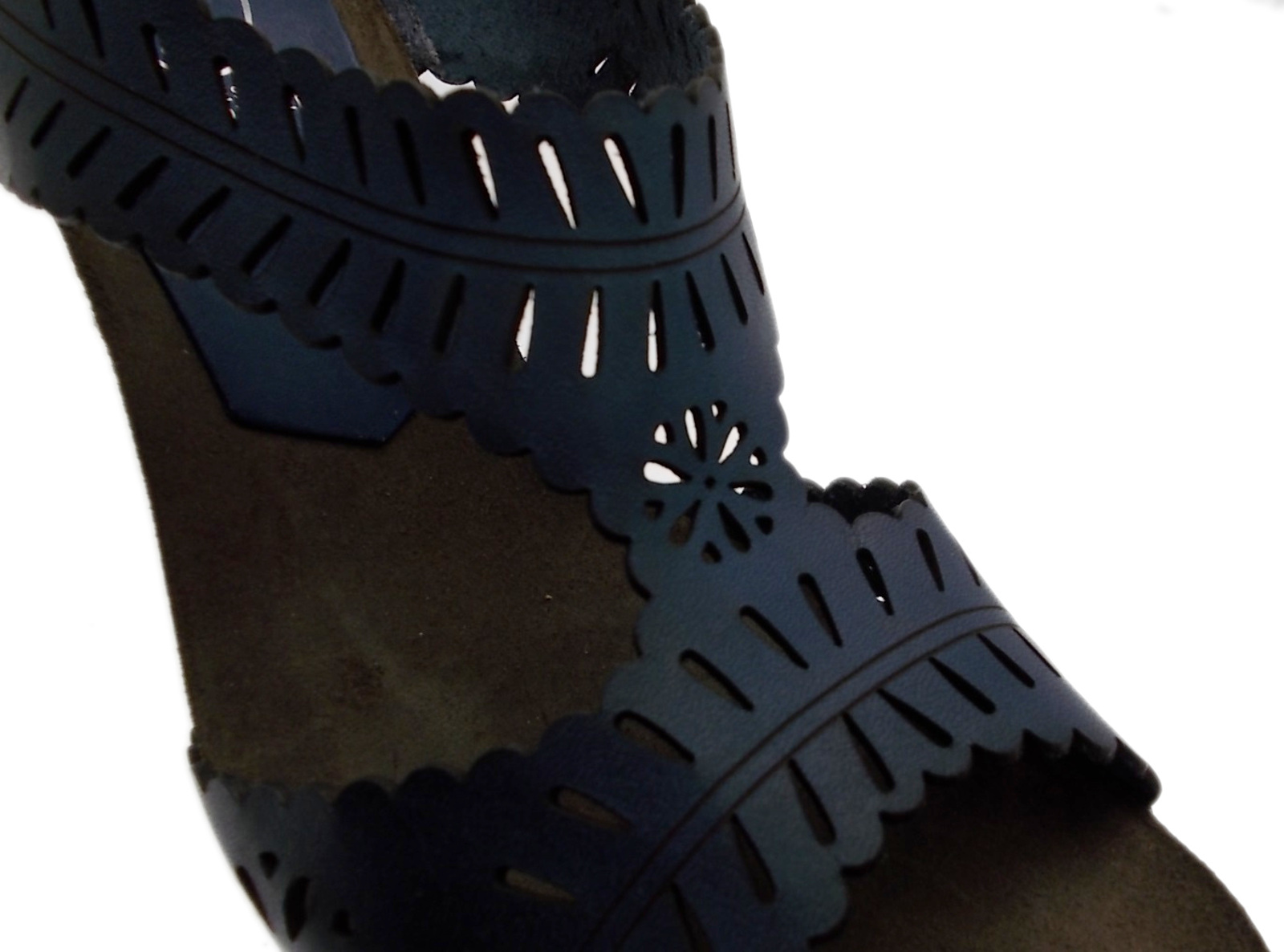 Prise de bleu marine J0830 sandale broderies plateau de bois bois bois Loren 294b60