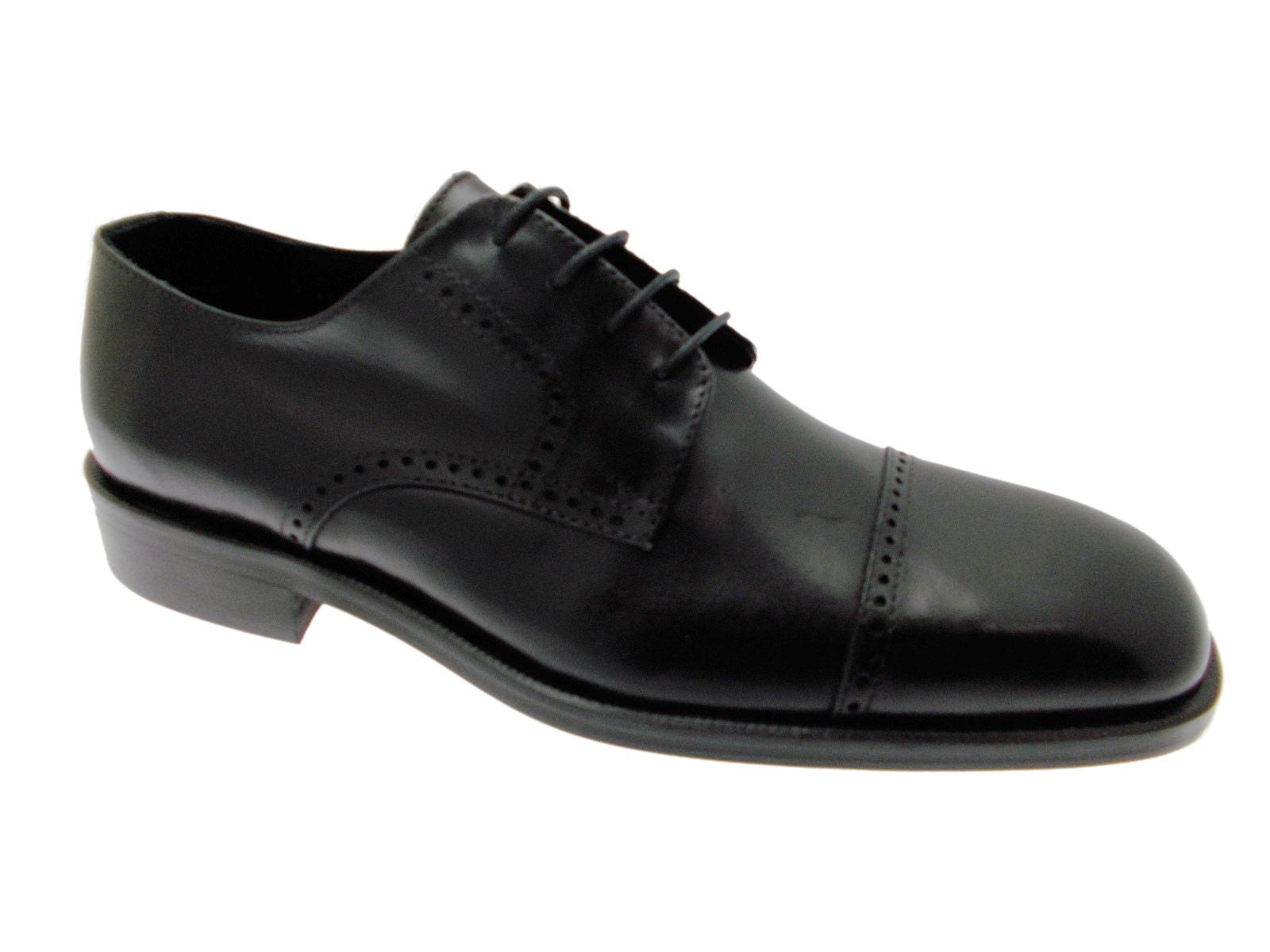pretty nice de915 6b2cc Dettagli su D001 scarpa uomo classica nero lacci punta tagliata Black Rain