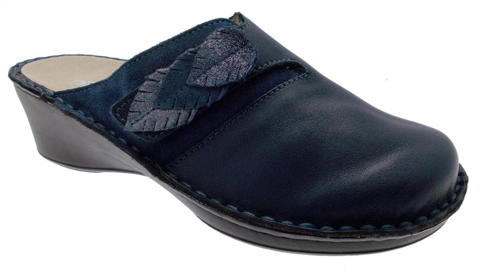 M2683 ciabatta zoccolo blu jeans extra large ortopedica strappo Loren