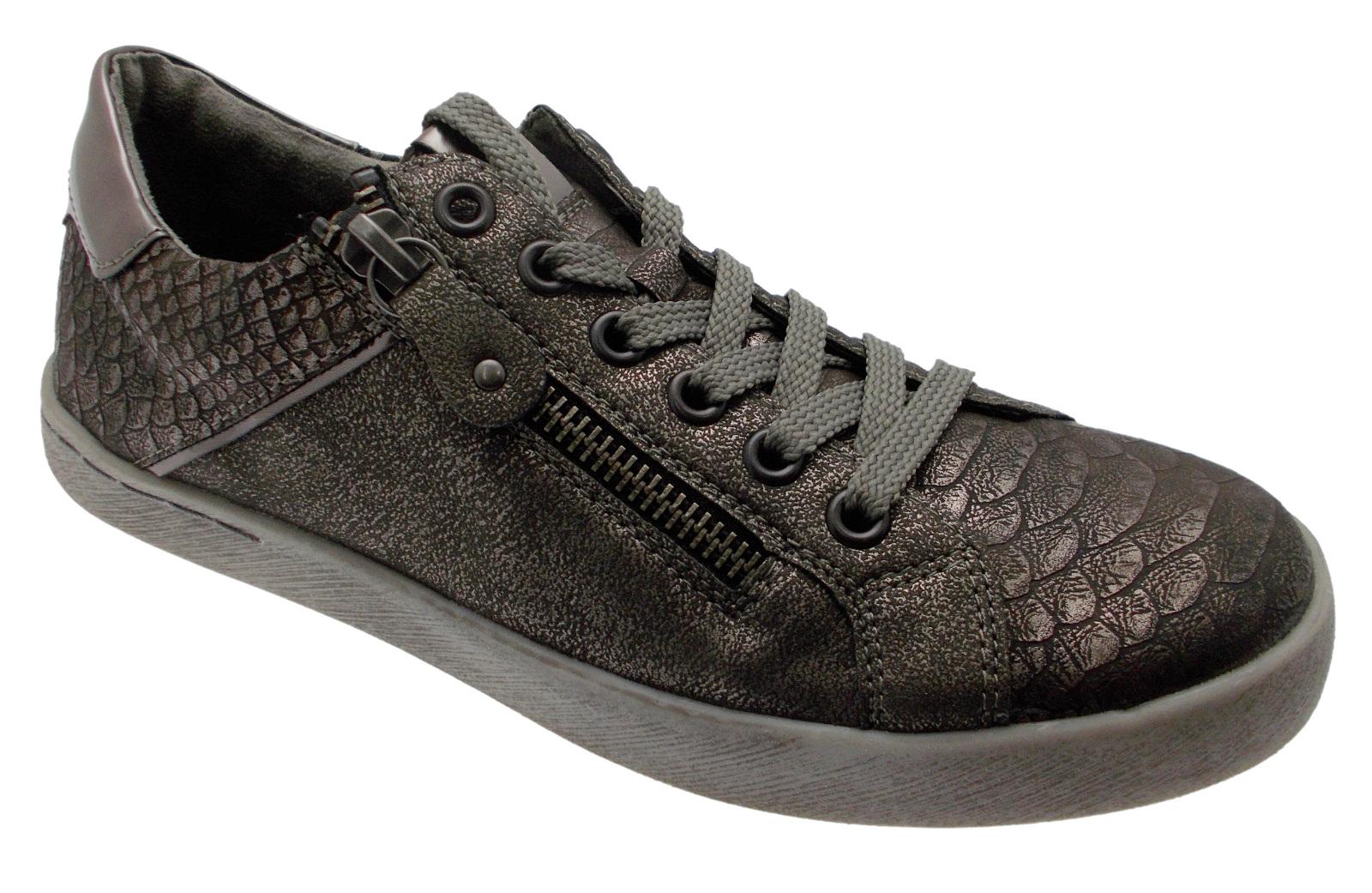 D5201-91 scarpe da ginnastica accollato con cerniera grigio metal  soft memory Remonte