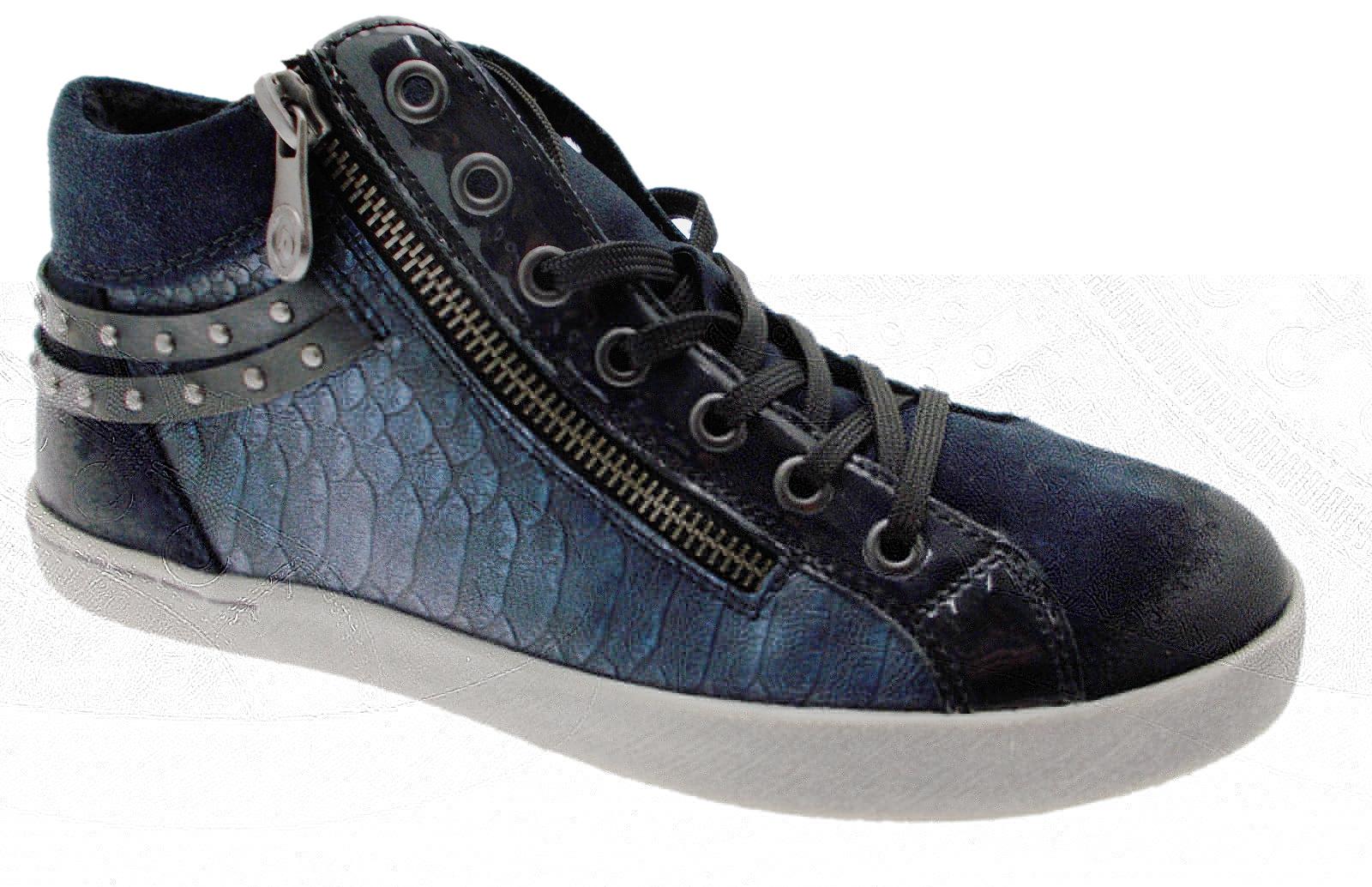 D5273-01 sneaker accollato con soft cerniera  blu  soft con memory Remonte 653ba8