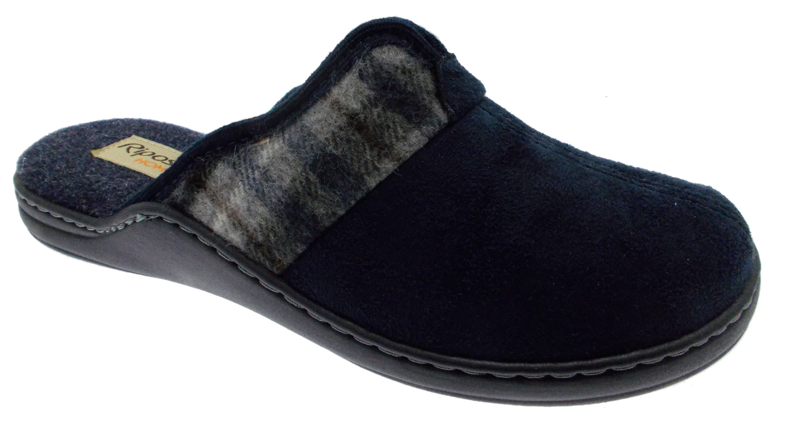 9904 slipper schoen inlegzool blauwe man geheugen Riposella