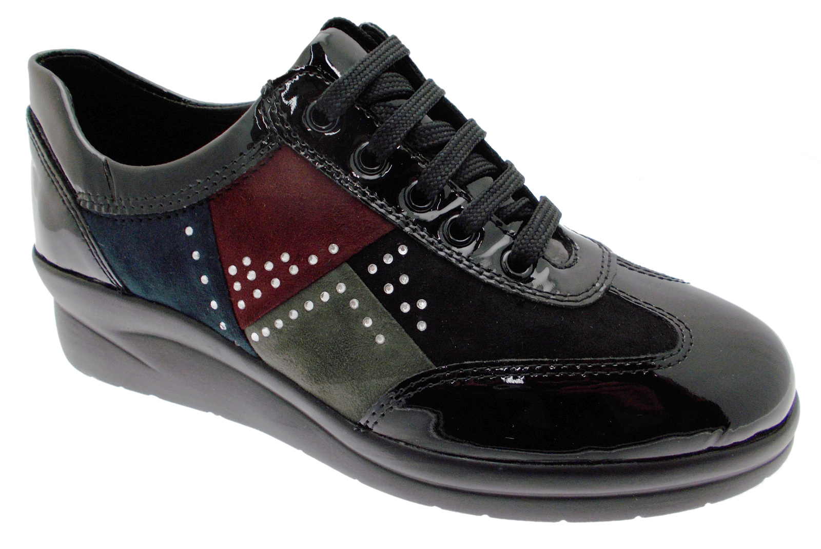 75491 sneaker allacciata nera multicolor plantare Riposella