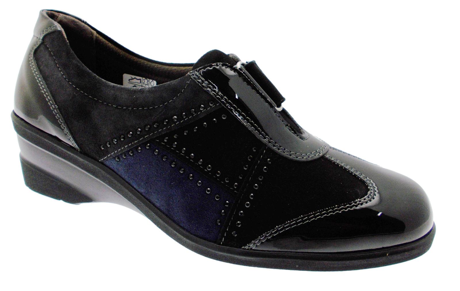 huge discount 1528d e0b67 Dettagli su K90283 scarpa donna nero multicolore strappo zeppa Melluso