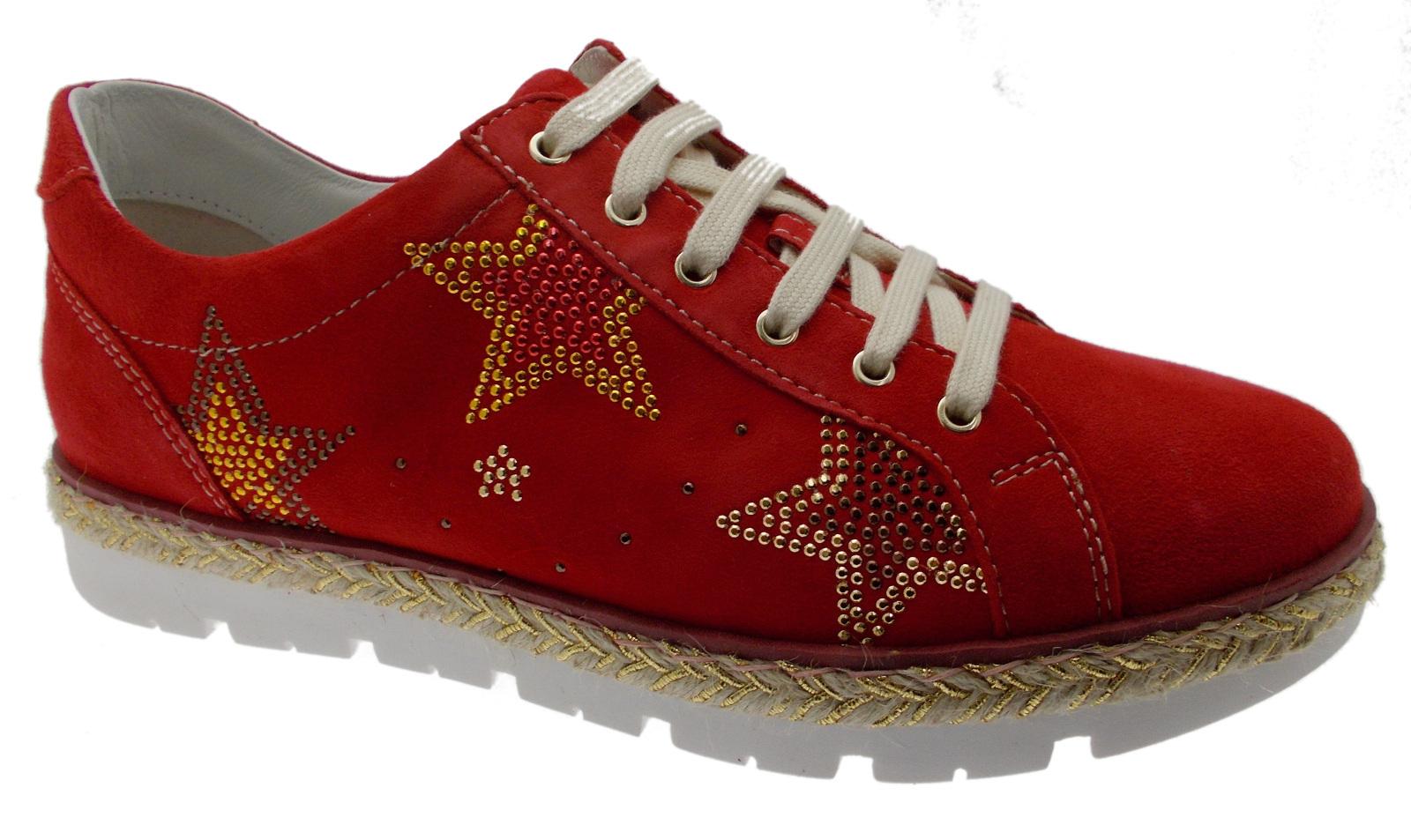 C3786 red women's shoe star orthopedic orthopedic pull-out sneacker sneacker sneacker Loren fc8c15