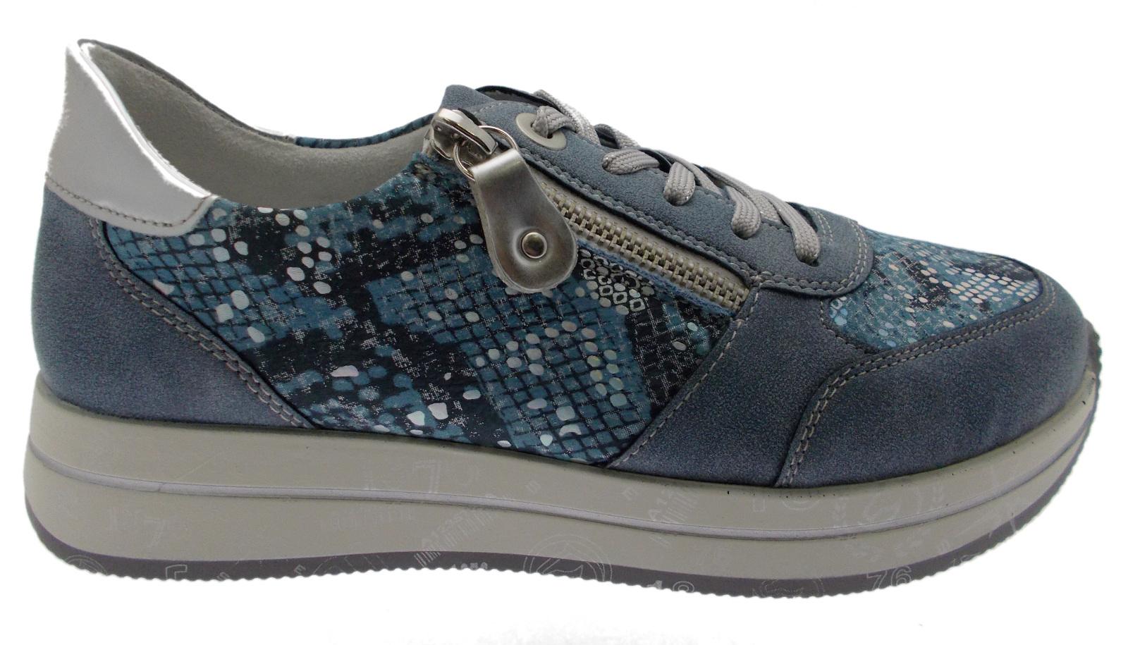 D2501-14  sneaker lacci cerniera blue jeans plantare  soft memory Remonte