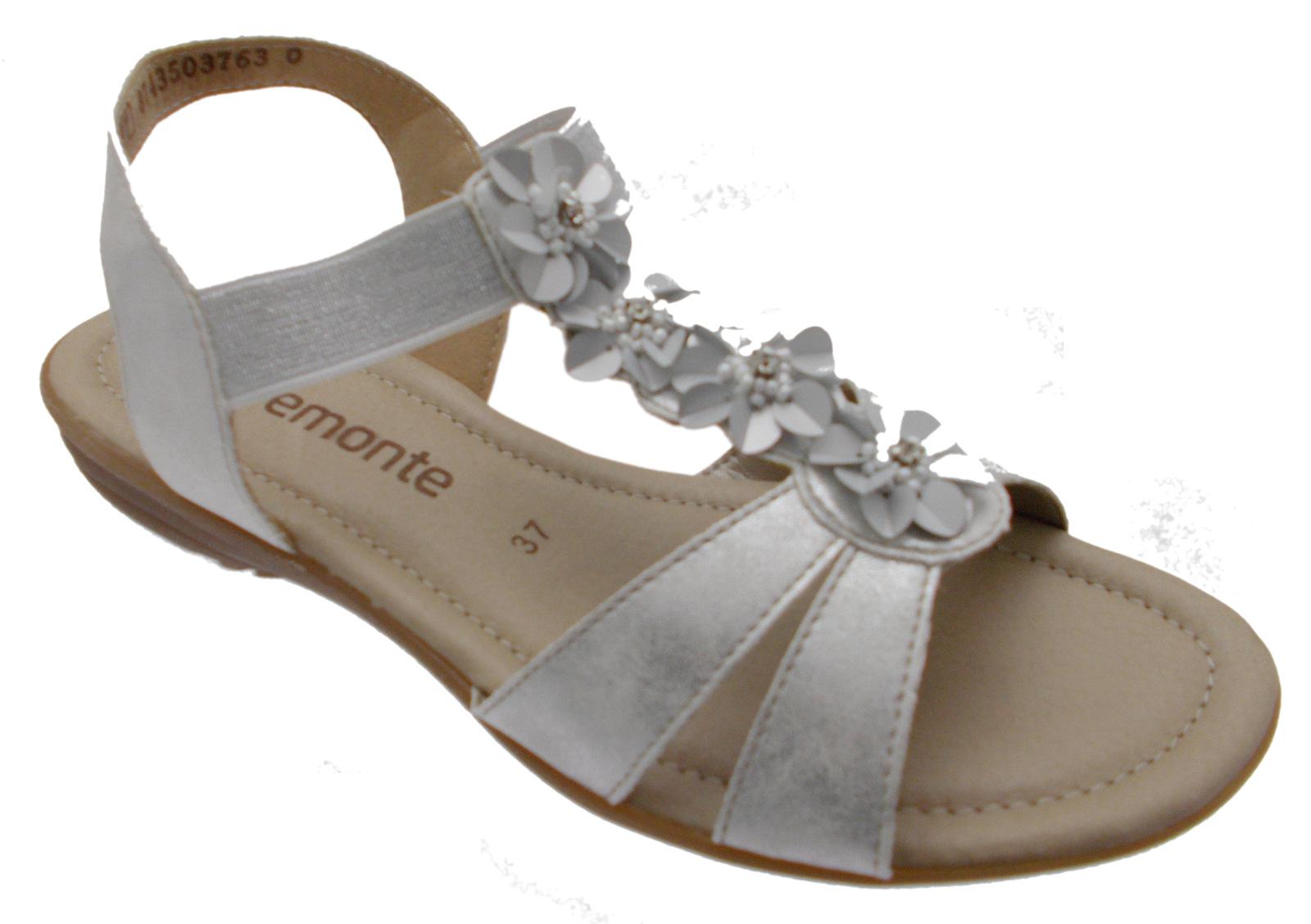 R3633-90 sandalo donna argentooo bianco fiori soft memory Remonte