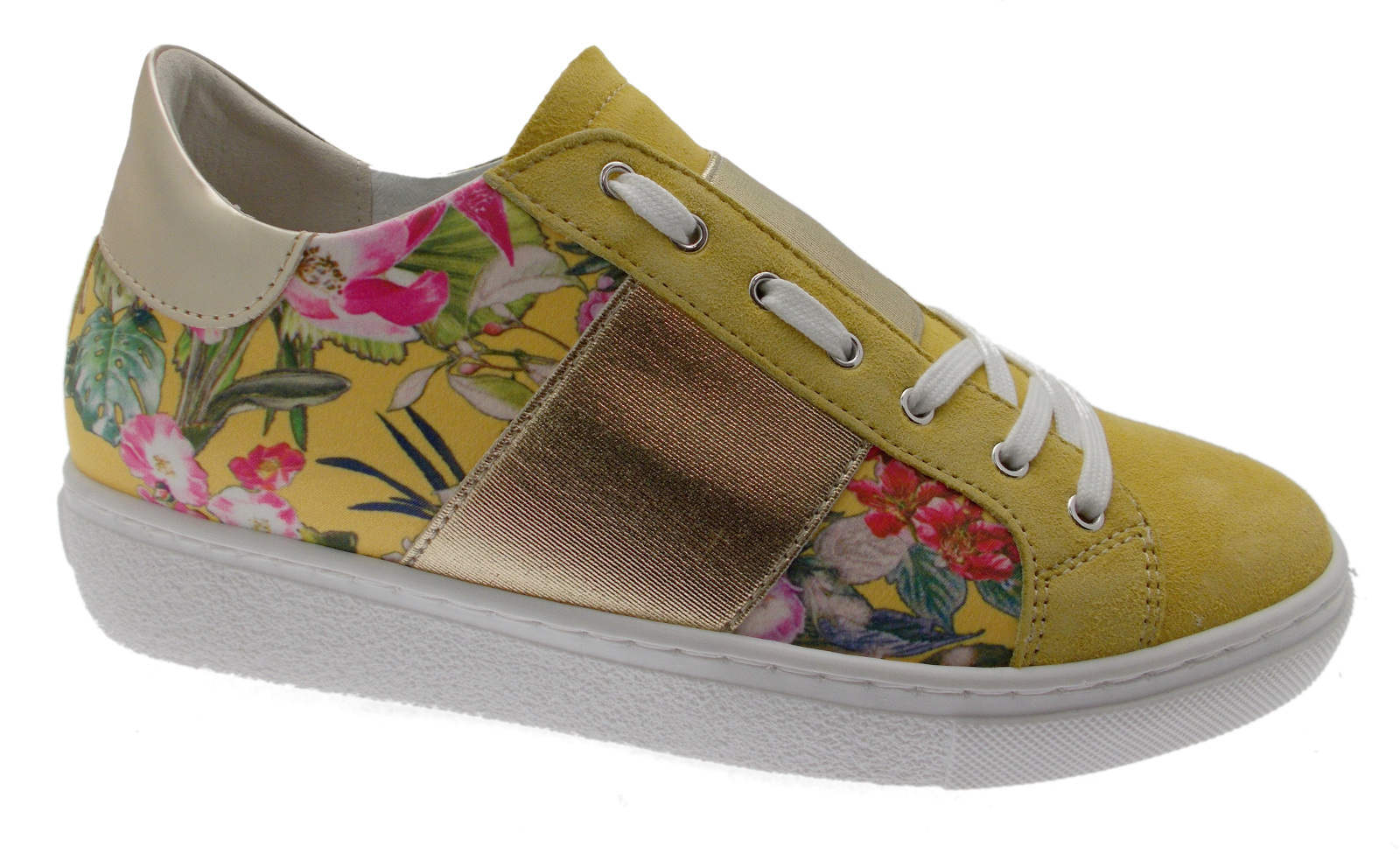 C3785 woman shoe yellow flowers orthopedic removable plantar sneaker Loren