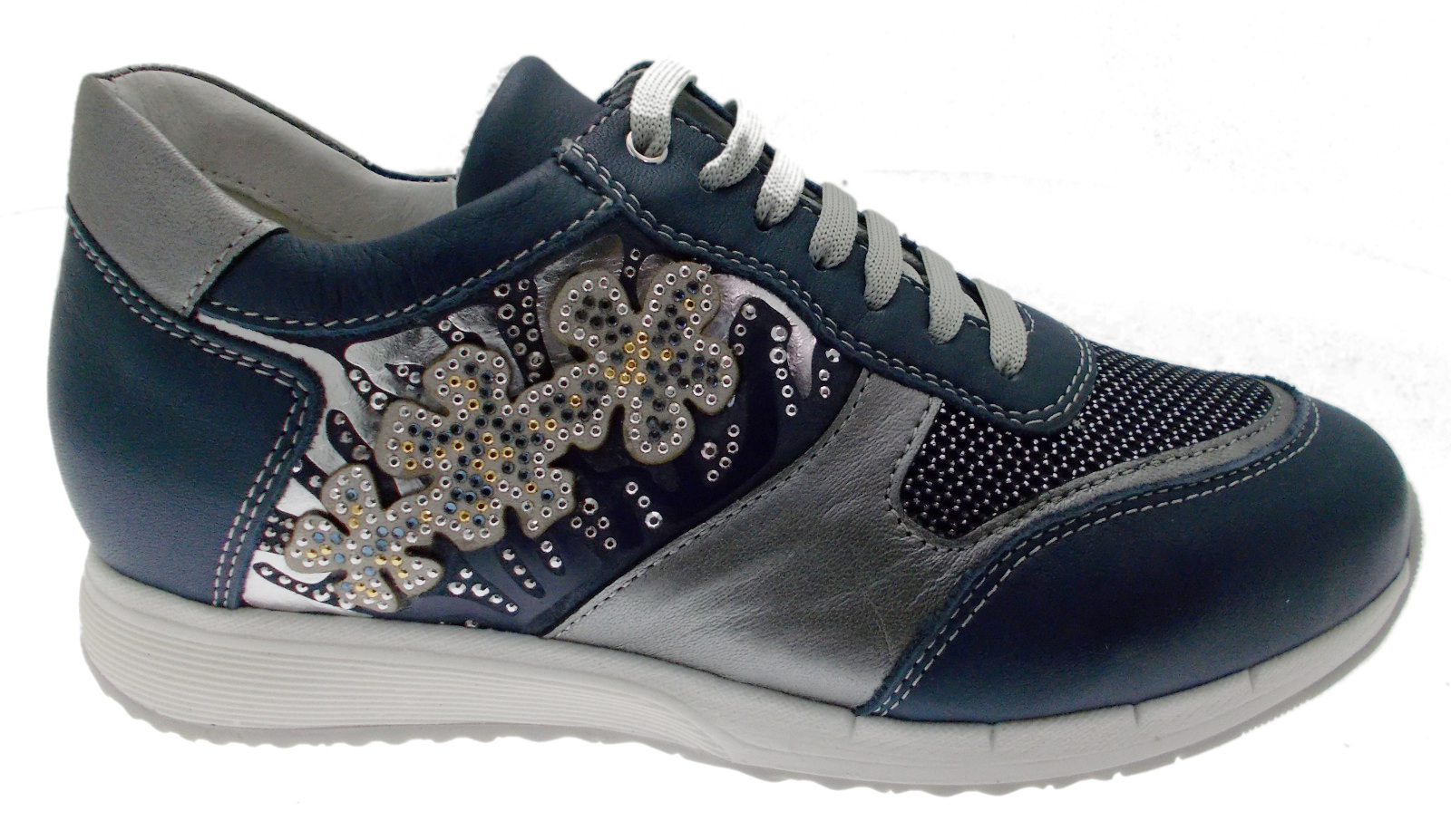 C3791 shoe woman orthopedic sneacker laces bluee Loren