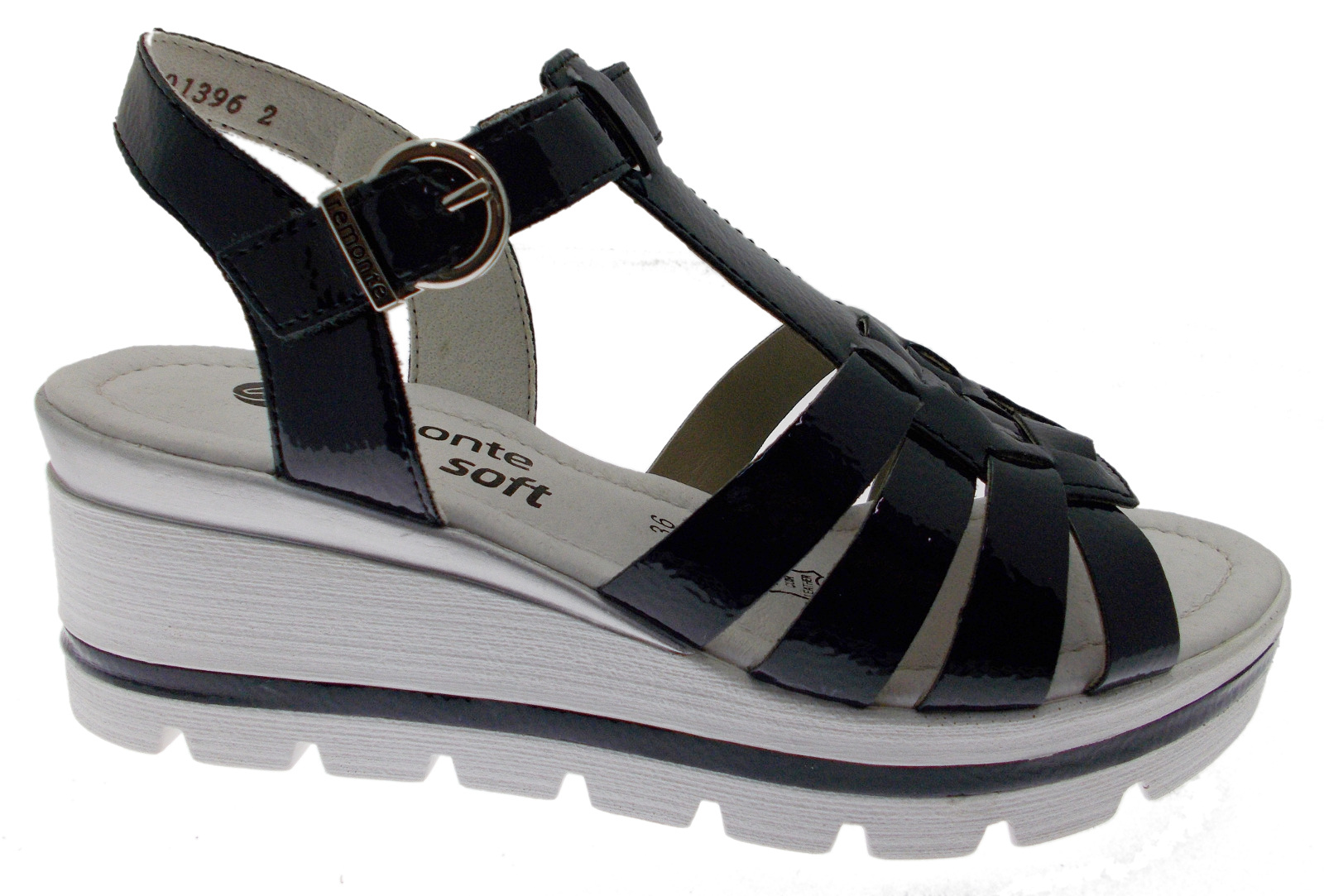 D1540-14 woman woman woman sandal bluee patent leather wedge soft memory Remonte d7a2ad