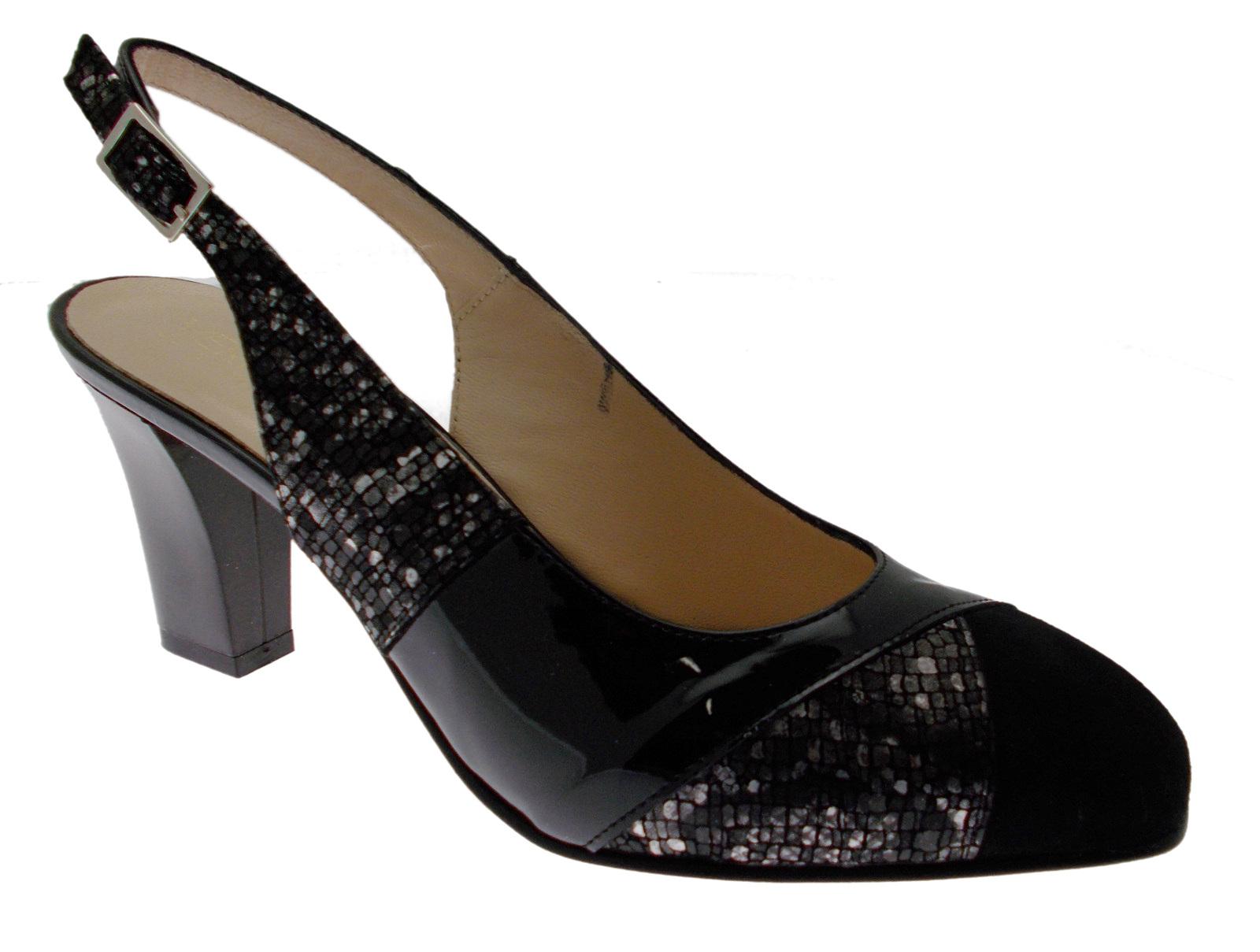 8061  scarpa sandalo decoltèe aperto ballo vernice  8061 nero cuoio Soffice Sogno 28b4f9