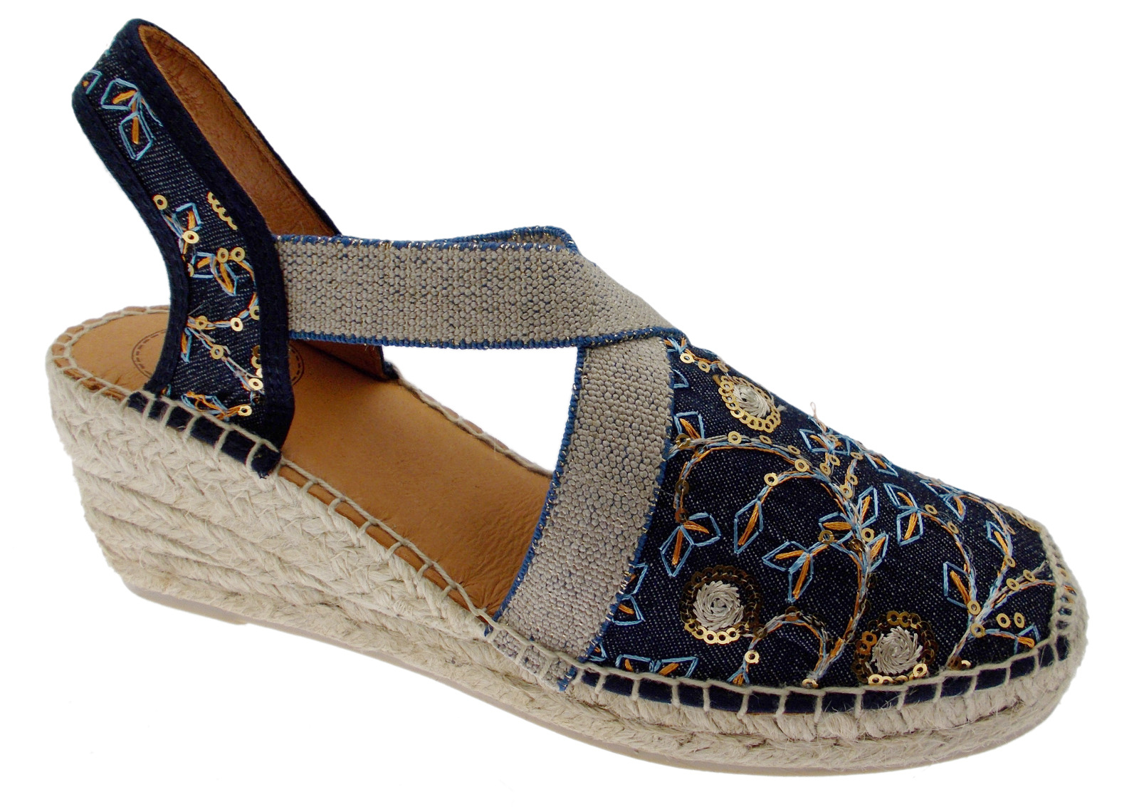 EARTH - OR texa espadrilles jeans embroidery Toni Pons