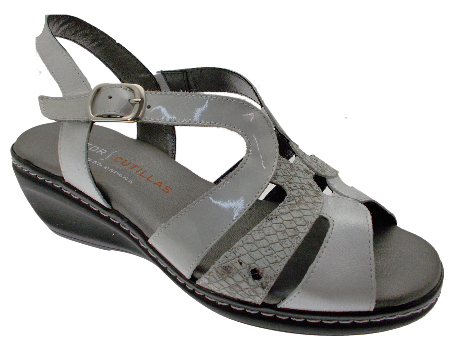 32093 White Sandal Beige Classic Footbed Memory Doctor cutillas