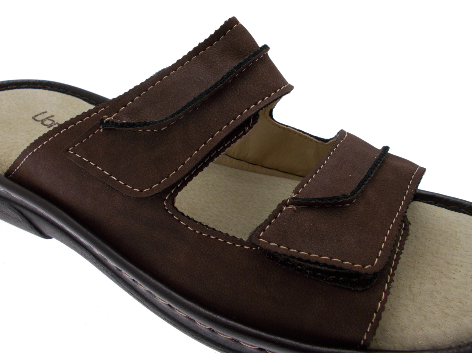 50795 extra large brown slipper footbed memory adjustable Uomodue by Riposella