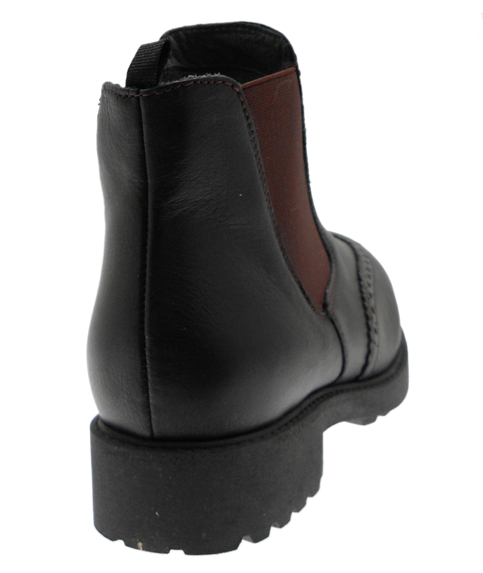 C3753  stivaletto boot  black black black riporti bordeaux ortopedico plantare Loren d9ca2a