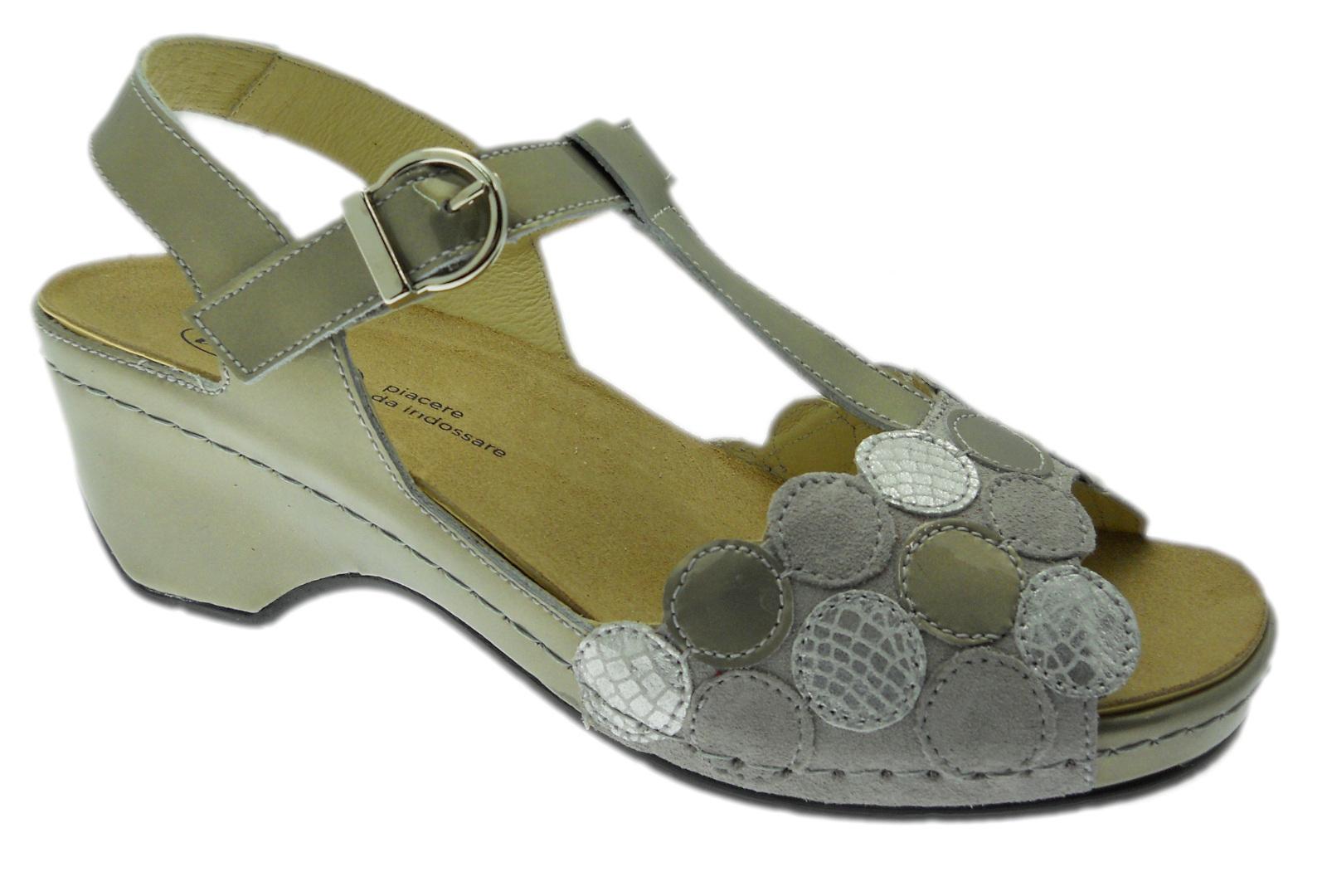 LOREN E0661 orthopedische sandaal met afneembare grijze stippen Loren