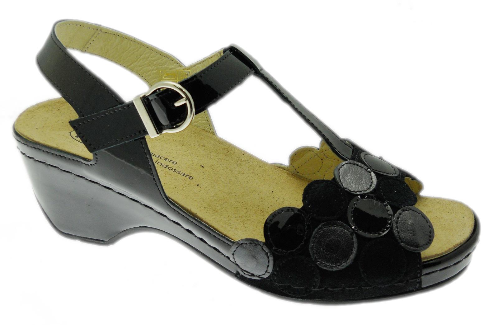 LOREN E0661 sandalo ortopedico con plantare estraibile negro pois Loren