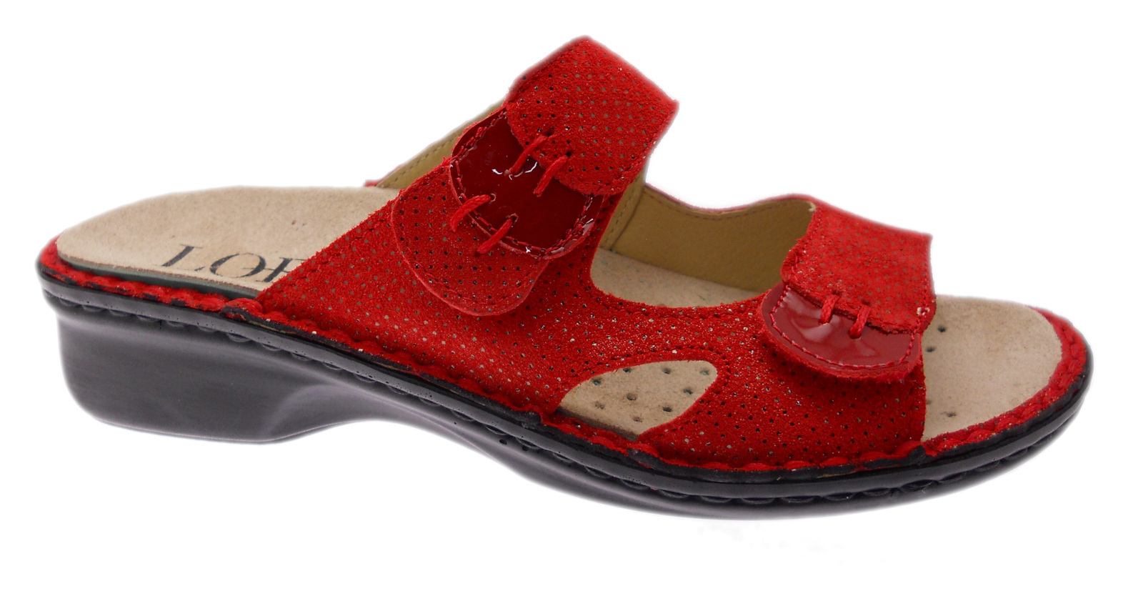 LOREN M2772 orthopedic slipper with adjustable red footbed Loren